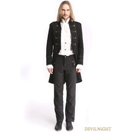 Black Vintage Palace Style Gothic Swallow Tail Jacket For Men M080022 Bk