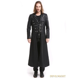Black Pu Leather Gothic Punk Military Style Long Trench Coat For Men M080079