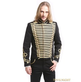 Black Gold Vintage Gothic Palace Style Short Jacket For Men M080072
