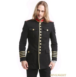 Black Gothic Military Uniform Jacket For Men M080078 Rd