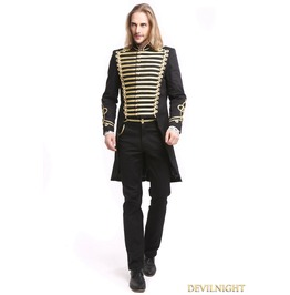 Black Gothic Vintage Palace Style Swallow Tail Coat For Men M080081 Gd