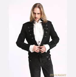Black Vintage Pattern Gothic Short Jacket For Men M080086