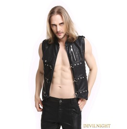 Black Pu Leather Rivets Gothic Punk Waistcoat For Men Y010039
