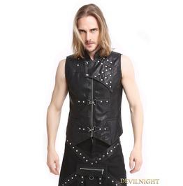 Black Pu Leather Gothic Punk Waistcoat For Men Y010040