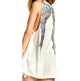 Cool White Angel Wing Print Design Vest Top T Shirt Small Size Uk 12/14