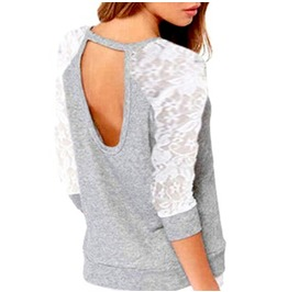 Eye Catching Design Grey Top With White Lacey Sleeves