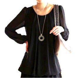 Cool Black Long Loose Blouse Uk Size 16/18