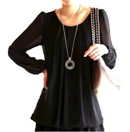 Cool Black Long Loose Blouse Uk Size 16/18