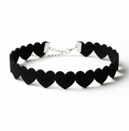 Elegant Black Heart Choker Necklace