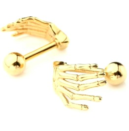 Unique Small Gold Colour Titanium Sketelon Hands Earrings Studs