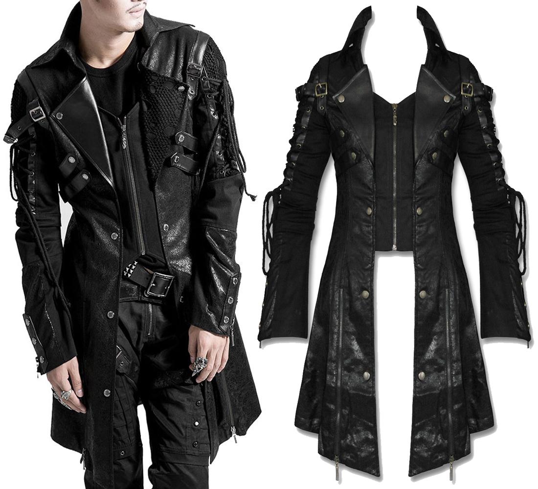 Rebelsmarket Men Black Gothic Jacket Steampunk Military Faux Leather Coat Coats 6