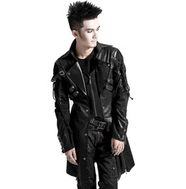 Men Black Gothic Jacket Steampunk Military Faux Leather Coat Jacket