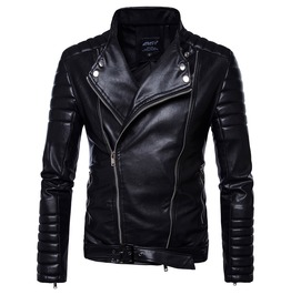 Mens Pu Leather Biker Jacket Moto Coat Slim Fit Parka Outwear Jackets