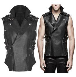 Men Biker Waistcoat Gothic Black Vest Faux Leather Apocalyptic Vest For Men