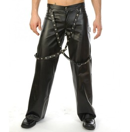 Men Genuine Biker Leather Pants With Suspenders Buckles Bondage Male Gay Tr