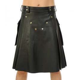 Men Black Genuine Leather Utility Kilt Pocket Pleated Lined Traditional Cos