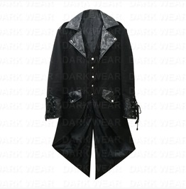 Mens Gothic Steampunk Victorian Tailcoat Custom Collar Jacket