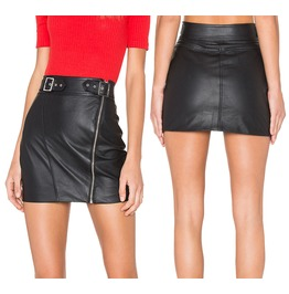 Women Genuine Lambskin Leather Skirt Motorbike Mini Skirt Zip Closure Buck