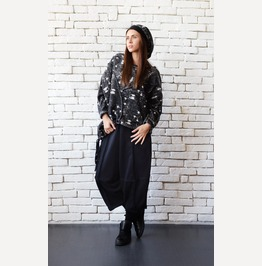 Plus Size Maxi Top/Loose Black Tunic/Extravagant Oversize Sweater/Maxi Top