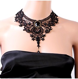 Gothic Victorian Lace Choker Necklace Metal Cameo Jewel Steampunk Cosplay