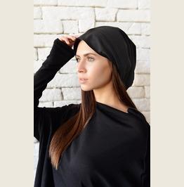 Black Drape Hat/Asymmetric Black Beanie/Slouchy Beanie/Unisex Beanie Hat