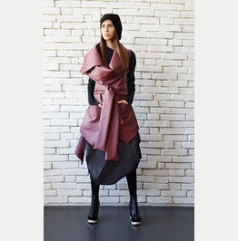 Asymmetric Burgundy Vest/Sleeveless Leather Coat/Extravagant Tunic Top
