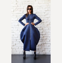 Dark Blue Maxi Dress/Navy Long Zipper Dress/Extravagant Long Coat/Long Top
