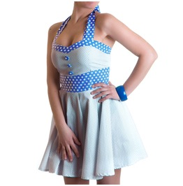Updown Sandy Rockabilly Retro Dress Polka Dots Blue White Buttons Vintage