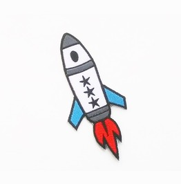 White Rocket Three Stars Embroidered Iron On Patch.