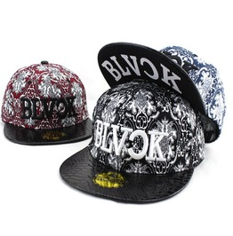 Women's Sun Caps,Flower Printing Snapback Flat Hat,Black Sign Baseball Caps
