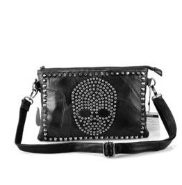Genuine Leather Skull Rivet Women'S Sheepskin Handbag