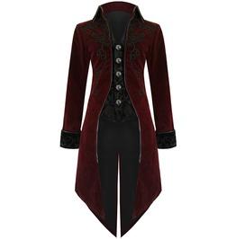 Men's Long Tail Victorian Jacket In Maroon Velvet Custom Stitch Steampunk