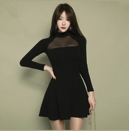 Sexy Long Sleeves Gauze Neck Short Black Dress