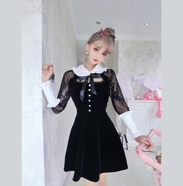 Doll Collar Patchwork Lace Sleeves Bow Tie Short Dress