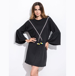 Casual Round Neck Bell Sleeves Black Dress