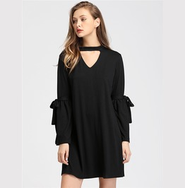 Casual Halter Neck Bell Sleeves Black Dress
