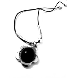 Pretty Plastic Chrome Effect Daisy With Half Ball Black Centre Choker