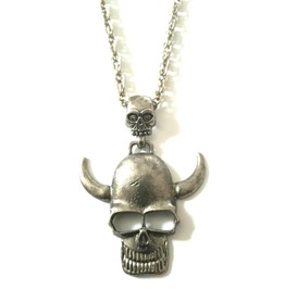 Cool Skull With Horns Long Old Silver Metal Chain Necklace