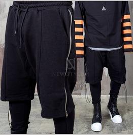 Long Side Strap Zipper Leggings Sweatpants 276