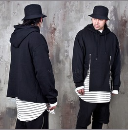 Double O Ring Zippered Black Hoodie 163