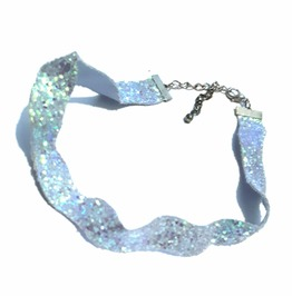Eye Catching Wavy Choker Made Sky Blue Fabric Shimmery Glittery Look