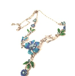 Pretty Turquoise Blue Enamel Flower Leaves Necklace Metal Choker Necklace