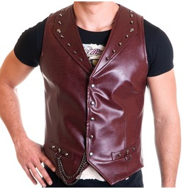 Heavy Biker Vest Male Eco Leather Red Metal Cross And Chain Punk Rock Waist