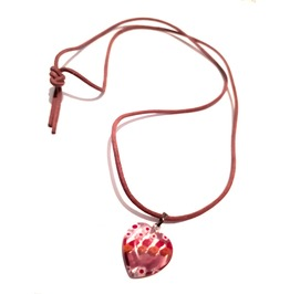 Pretty Milifori Glass Heart Shape With Tiny Flowers Choker Necklace