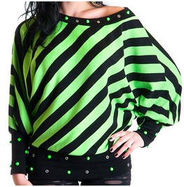 Green Fluo And Black Stripes Sweater With Studs And Eyelets Oversize Fit