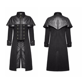 Punk Mens Long Coat Black Gothic Highwayman Steampunk Vtg Military Jacket