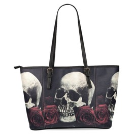 Sugar Skull Womens Leather Tote Shoulder Bags Handbags