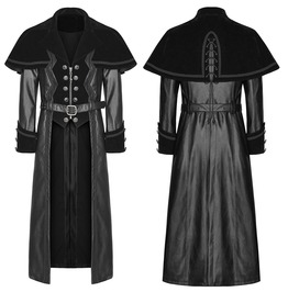 Men Punk Long Coat Jacket Black Faux Leather Gothic Highwayman Steampunk Lo