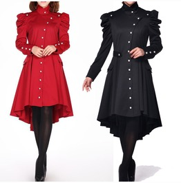 Women Victorian Style Gothic Trench Coat Vtg Women Regiment Jacket