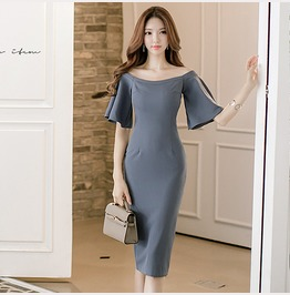 Sexy Boat Neck Short Bell Sleeves Slim Fit Dress